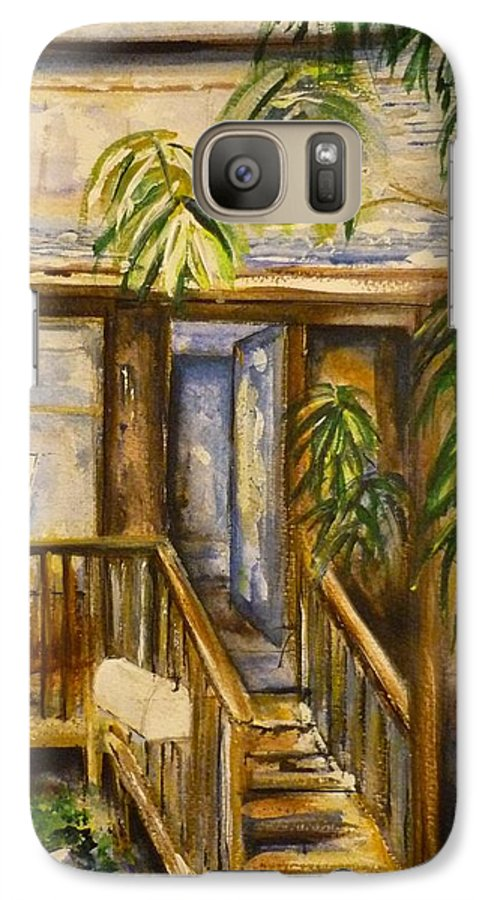 Blue Ridge Mountains Galaxy S7 Case featuring the painting Blue Ridge Cabins Blue Ridge Mountains by Lizzy Forrester