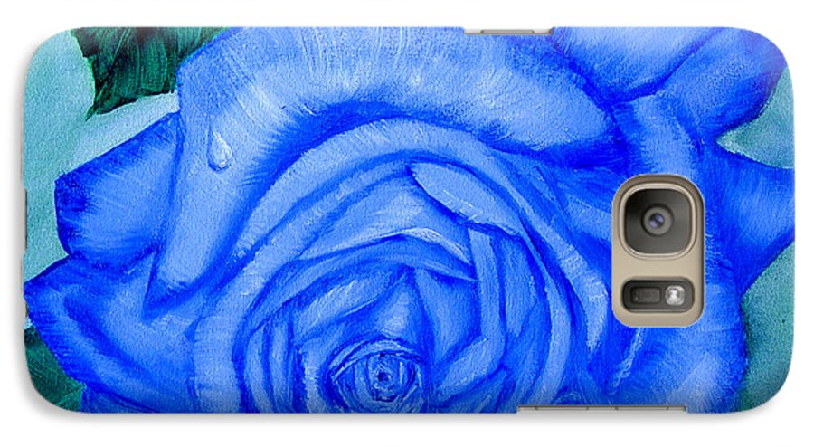 Rose Galaxy S7 Case featuring the painting Blue Rose by Quwatha Valentine