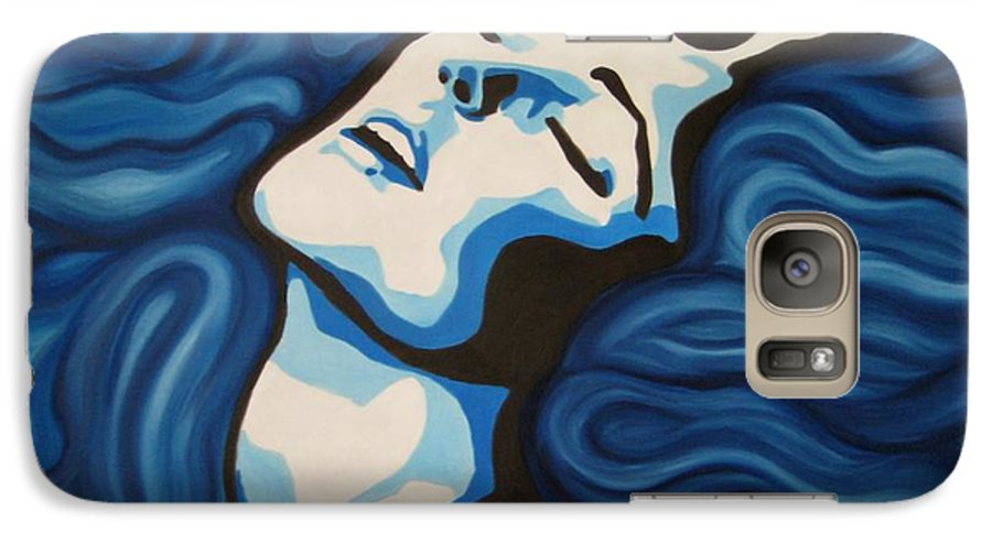 Blue Galaxy S7 Case featuring the painting Blue Shimmers by Jindra Noewi