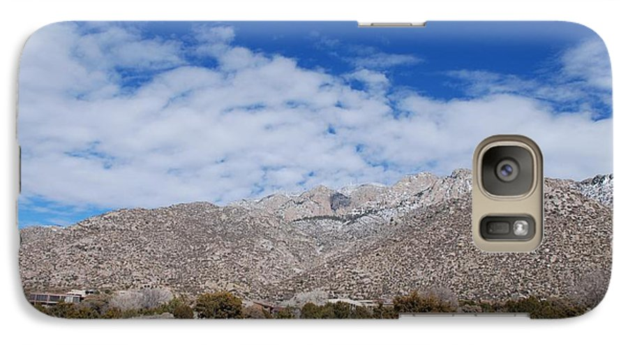 Sandia Mountains Galaxy S7 Case featuring the photograph Blue Skys Over The Sandias by Rob Hans