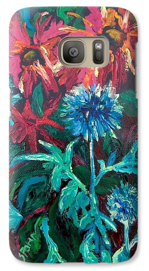 Red Galaxy S7 Case featuring the painting Blue Thistle And Bee Balm by Susan Spohn