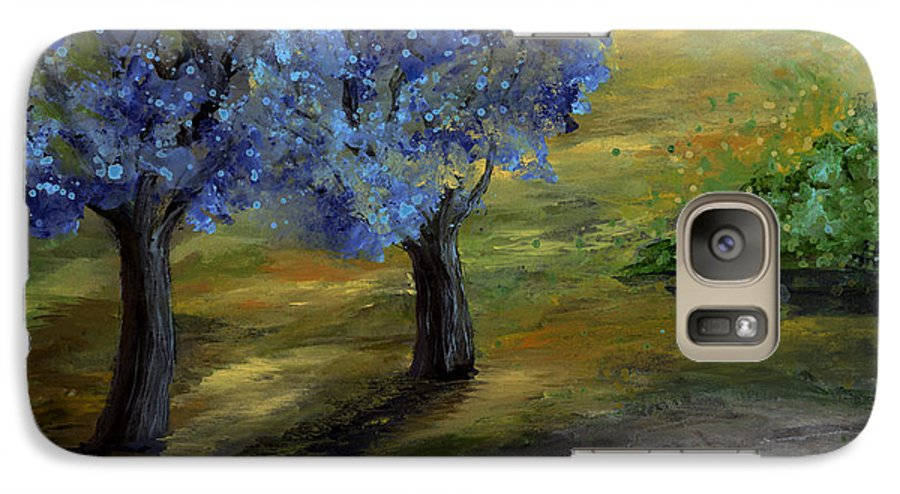 Trees Galaxy S7 Case featuring the painting Blue Trees by Laura Swink