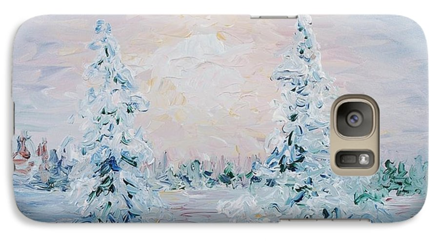 Landscape Galaxy S7 Case featuring the painting Blue Winter by Nadine Rippelmeyer