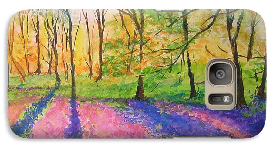 Landscape Galaxy S7 Case featuring the painting Bluebell Wood by Lizzy Forrester
