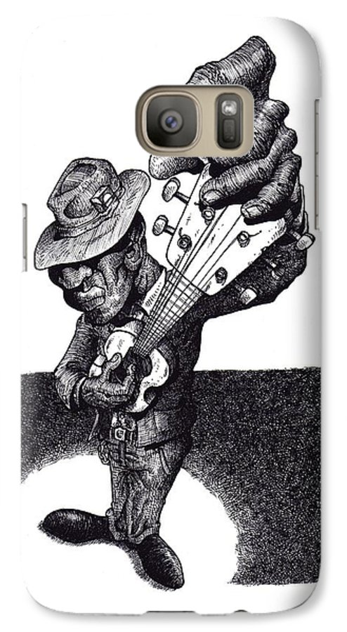 Blues Galaxy S7 Case featuring the drawing Blues Guitar by Tobey Anderson