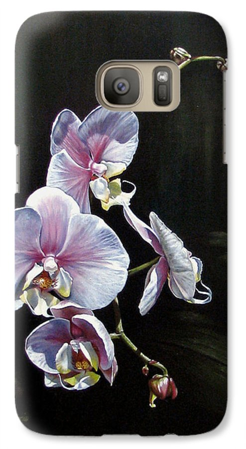Orchid Galaxy S7 Case featuring the painting Blushing by Joan Garcia