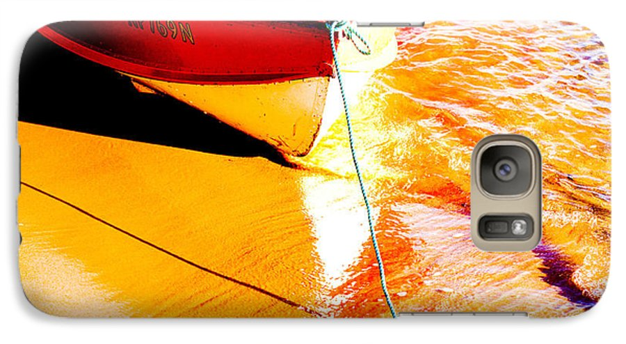 Boat Abstract Yellow Water Orange Galaxy S7 Case featuring the photograph Boat Abstract by Avalon Fine Art Photography