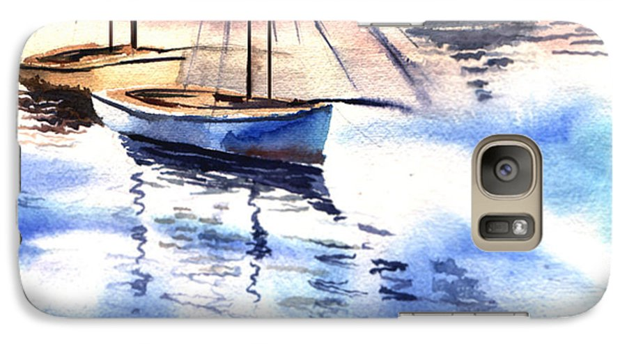 Watercolor Galaxy S7 Case featuring the painting Boat And The River by Anil Nene