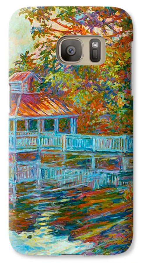 Mountain Lake Galaxy S7 Case featuring the painting Boathouse At Mountain Lake by Kendall Kessler