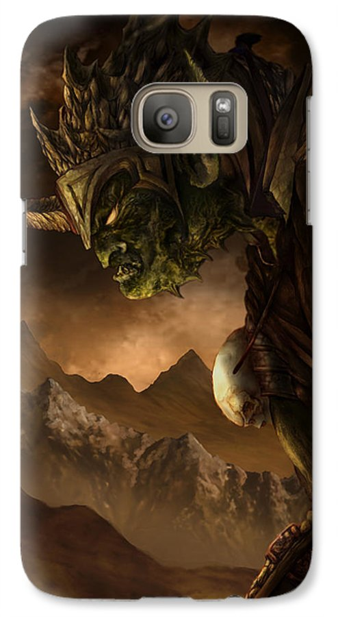 Goblin Galaxy S7 Case featuring the mixed media Bolg The Goblin King by Curtiss Shaffer