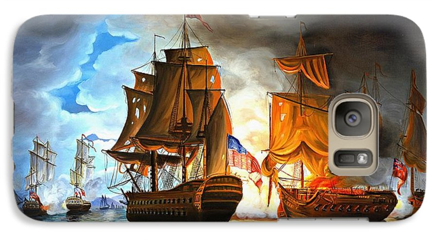 Naval Battle Galaxy S7 Case featuring the painting Bonhomme Richard Engaging The Serapis In Battle by Paul Walsh