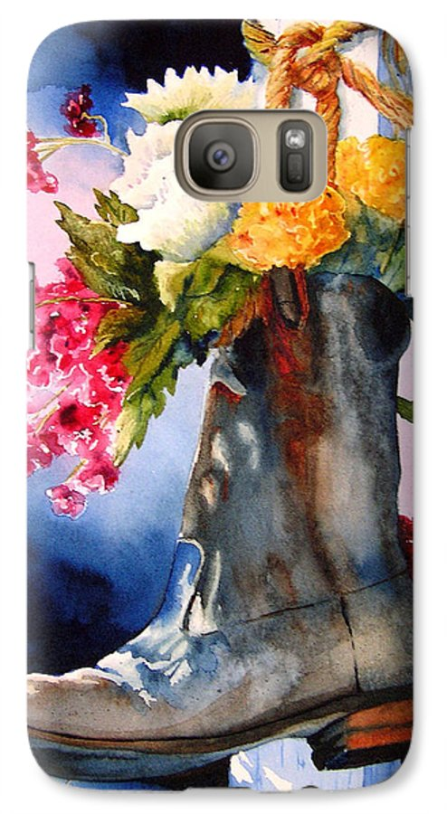 Cowboy Galaxy S7 Case featuring the painting Boot Bouquet by Karen Stark
