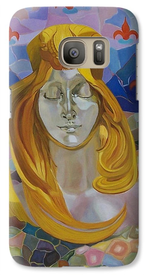 Figurative Galaxy S7 Case featuring the painting Born-after Mucha by Antoaneta Melnikova- Hillman