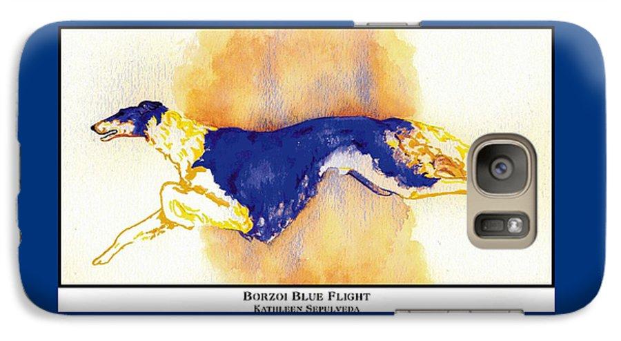 Borzoi Galaxy S7 Case featuring the digital art Borzoi Blue Flight by Kathleen Sepulveda