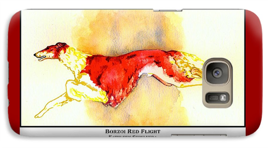 Borzoi Galaxy S7 Case featuring the digital art Borzoi Red Flight by Kathleen Sepulveda