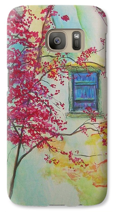 Bouganvilla Galaxy S7 Case featuring the painting Bouganvilla And Blue Shutter by Lizzy Forrester