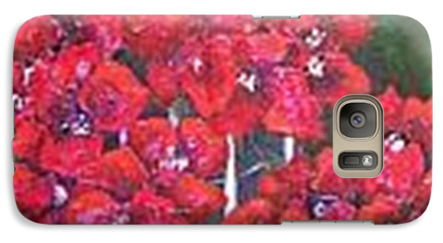 Galaxy S7 Case featuring the painting Bounganvillia On Fence by Carol P Kingsley