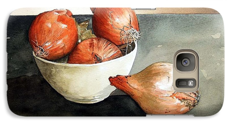 Still Life Galaxy S7 Case featuring the painting Bowl Of Onions by Paul Dene Marlor
