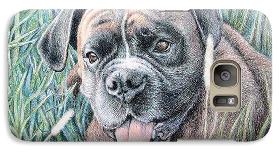 Dog Galaxy S7 Case featuring the drawing Boxer Yosi by Nicole Zeug
