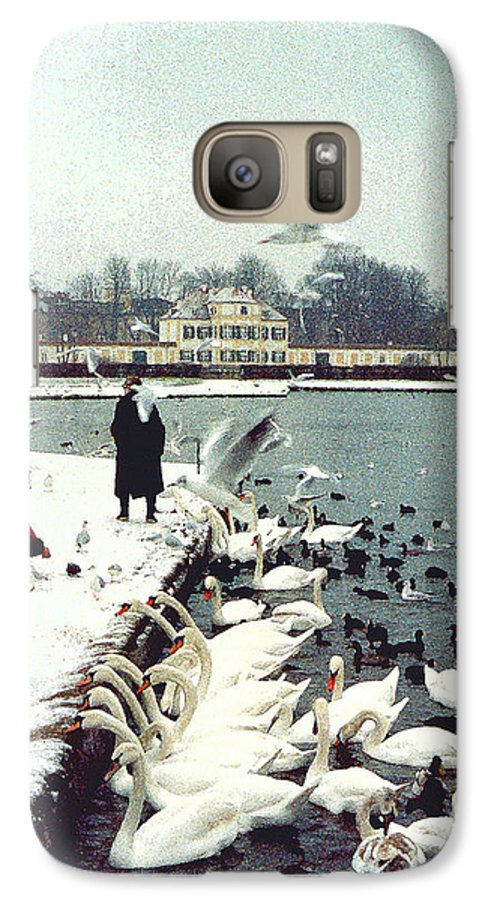 Swans Galaxy S7 Case featuring the photograph Boy Feeding Swans- Germany by Nancy Mueller