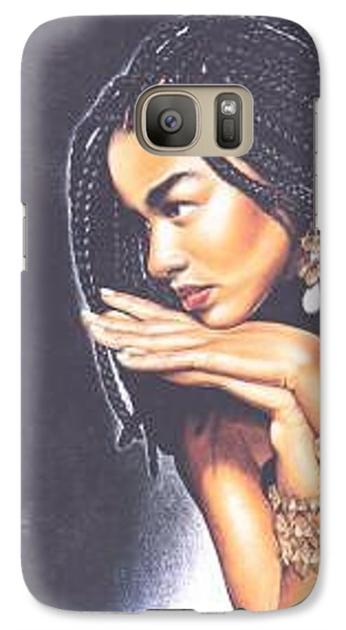 Woman W/folded Hands Galaxy S7 Case featuring the drawing Braided Beauty by Charlene Cooper