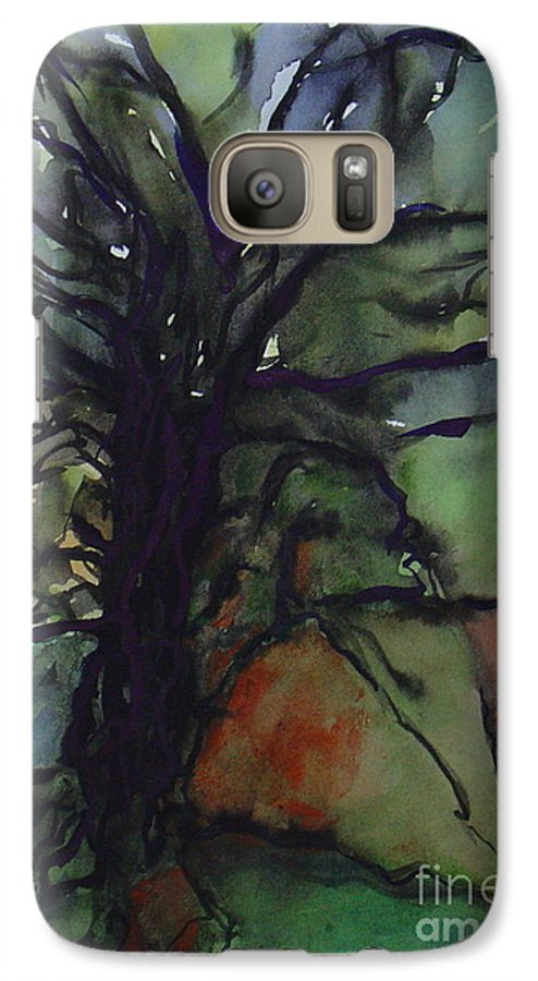 Tree Landscape Abstract Watercolor Original Blue Green Galaxy S7 Case featuring the painting Branching by Leila Atkinson