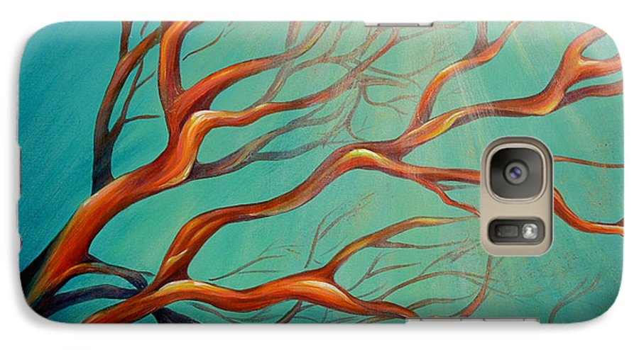 Coral Sea Ocean Underwater Beach Aquatic Reef Diving Contemporary Close-up Aquatica Series Galaxy S7 Case featuring the painting Branching Out by Dina Dargo