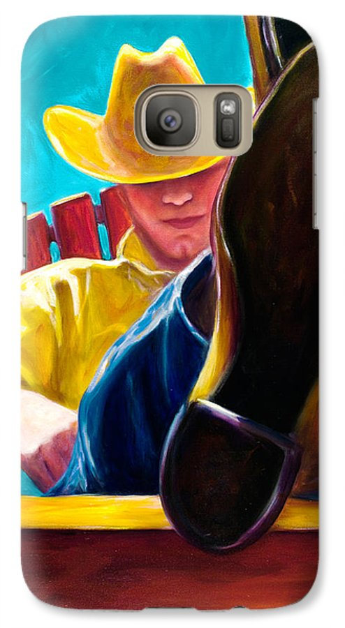 Western Galaxy S7 Case featuring the painting Break Time by Shannon Grissom