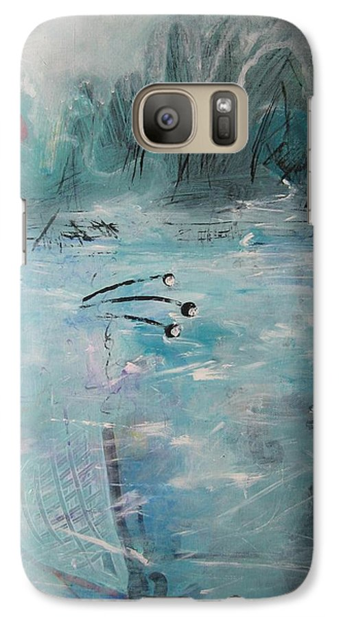 Abstract Paintings Galaxy S7 Case featuring the painting Brierly Beach by Seon-Jeong Kim