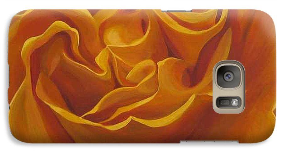 Yellow Rose In The Italian Countryside Galaxy S7 Case featuring the painting Bright As Yellow by Hunter Jay
