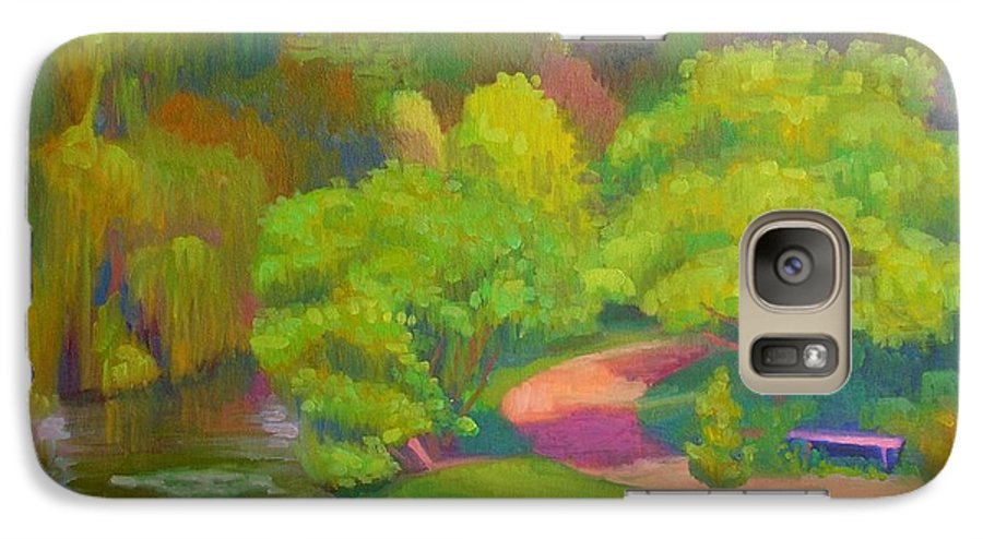 Landscape Galaxy S7 Case featuring the painting Bright Hazy Day Chicago Botanical Gardens by David Dozier