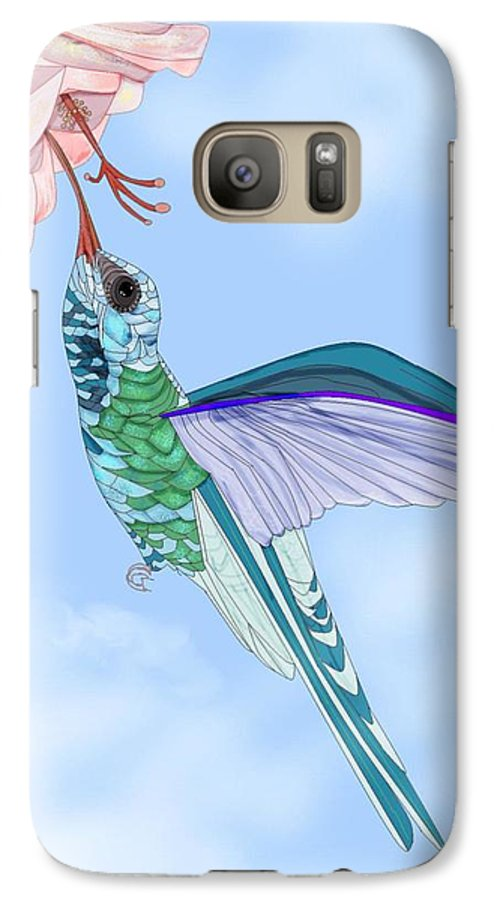 Hummingbird Galaxy S7 Case featuring the painting Broadbilled Hummer by Anne Norskog