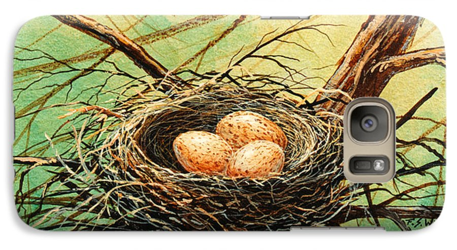 Wildlife Galaxy S7 Case featuring the painting Brown Speckled Eggs by Frank Wilson