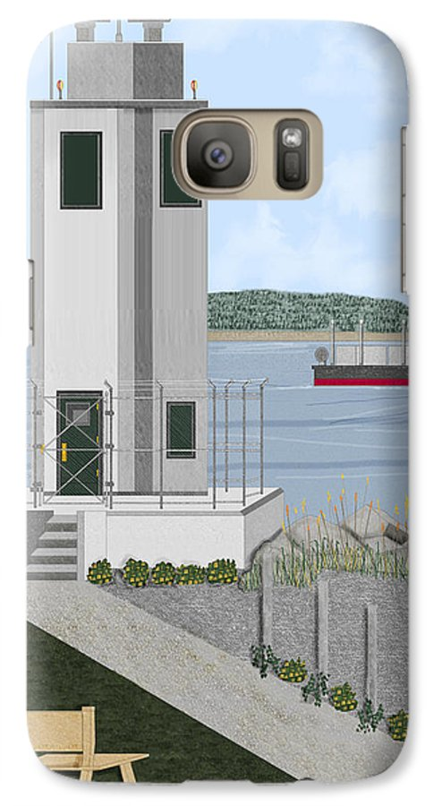 Lighthouse Galaxy S7 Case featuring the painting Browns Point Lighthouse On Commencement Bay by Anne Norskog