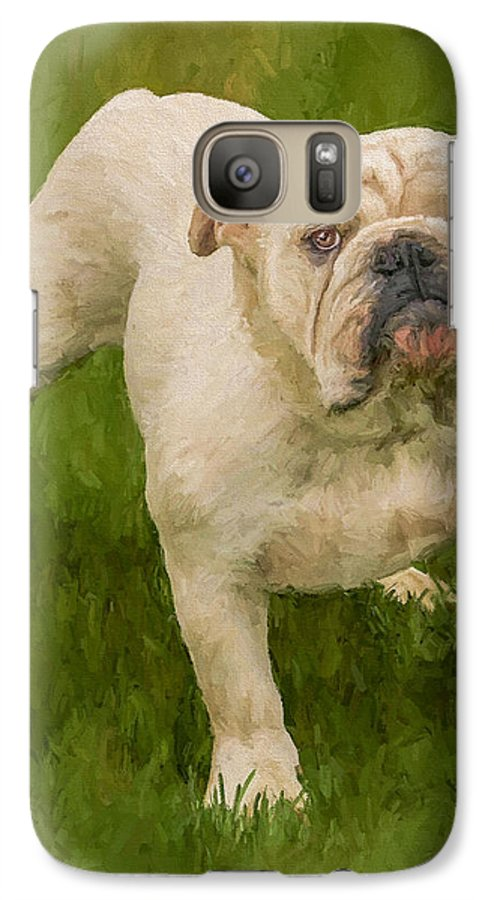 Dog Galaxy S7 Case featuring the painting Bruce The Bulldog by David Wagner