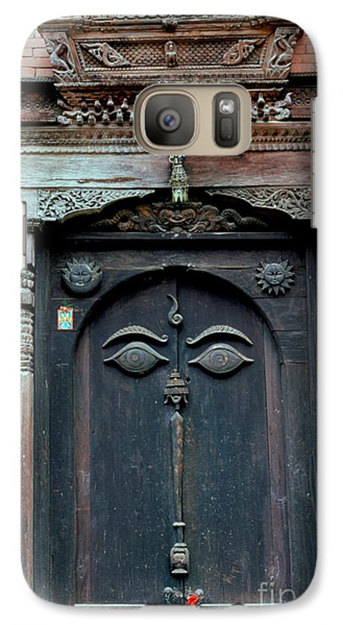 Nepal Galaxy S7 Case featuring the photograph Buddha's Eyes On Nepalese Wooden Door by Anna Lisa Yoder