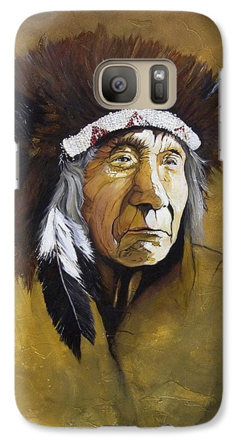 Shaman Galaxy S7 Case featuring the painting Buffalo Shaman by J W Baker