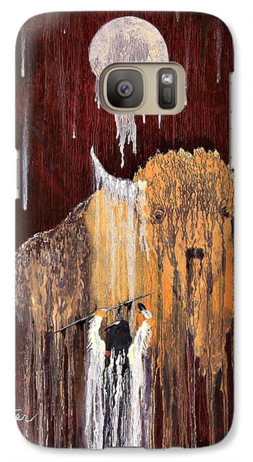 Native Art Galaxy S7 Case featuring the painting Buffalo Spirit by Patrick Trotter