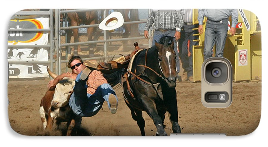 Cowboy Galaxy S7 Case featuring the photograph Bulldogging At The Rodeo by Christine Till