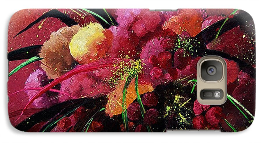 Flowers Galaxy S7 Case featuring the painting Bunch Of Red Flowers by Pol Ledent