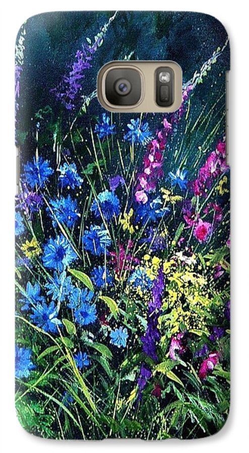 Poppies Galaxy S7 Case featuring the painting Bunch Of Wild Flowers by Pol Ledent