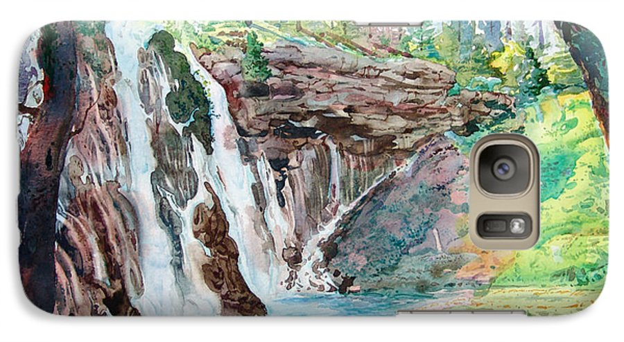 Watercolor Galaxy S7 Case featuring the painting Burney Falls by John Norman Stewart