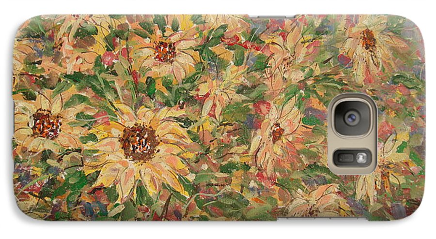 Flowers Galaxy S7 Case featuring the painting Burst Of Sunflowers. by Leonard Holland