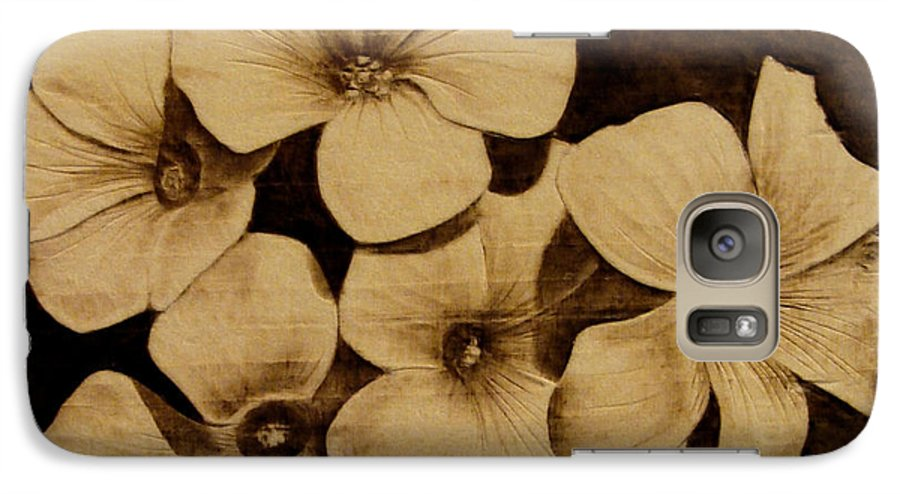 Pyrography; Sepia; Flower; Petals; Boquet; Pansy; Violet; Galaxy S7 Case featuring the pyrography Bursting by Jo Schwartz