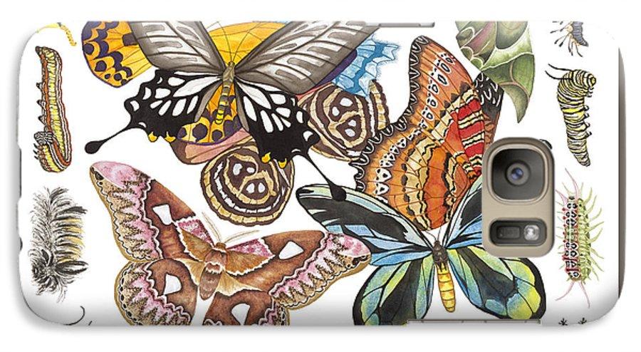 Butterflies Galaxy S7 Case featuring the painting Butterflies Moths Caterpillars by Lucy Arnold