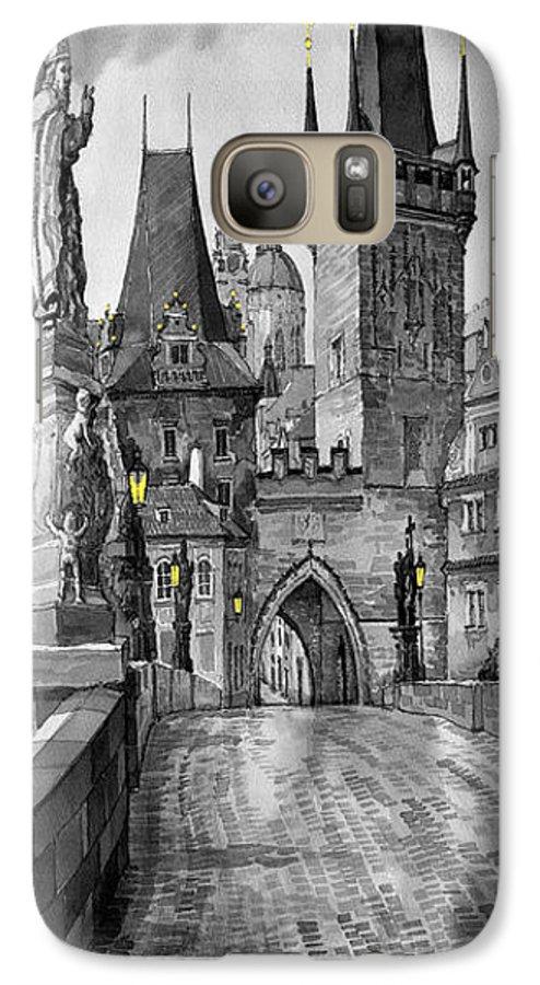 Prague Galaxy S7 Case featuring the painting Bw Prague Charles Bridge 02 by Yuriy Shevchuk