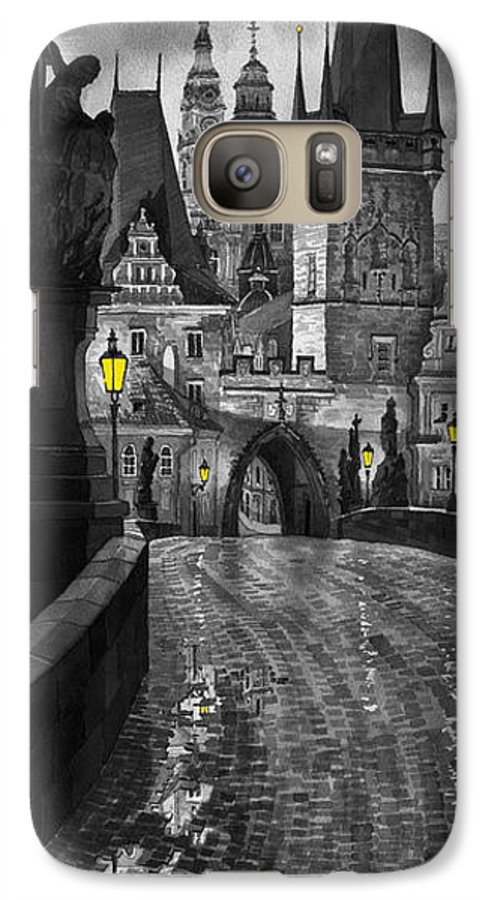 Prague Galaxy S7 Case featuring the painting Bw Prague Charles Bridge 03 by Yuriy Shevchuk