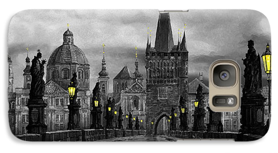 Prague Galaxy S7 Case featuring the painting Bw Prague Charles Bridge 04 by Yuriy Shevchuk