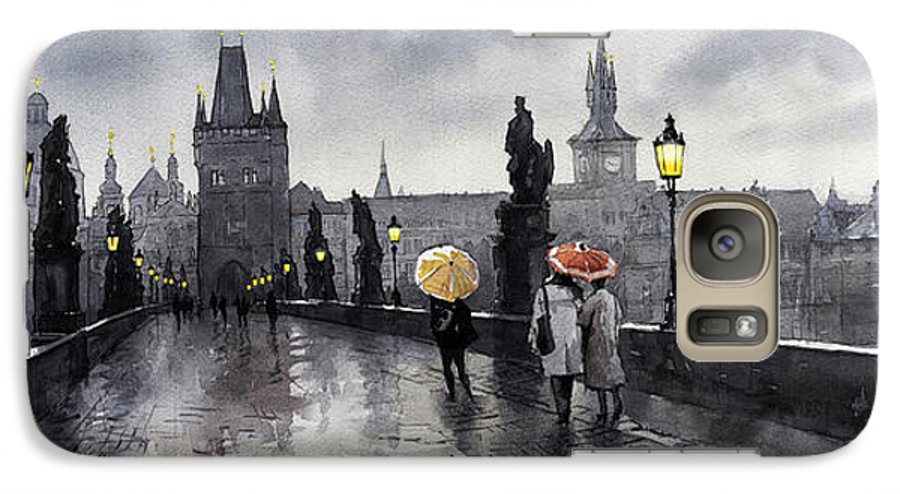 Prague Galaxy S7 Case featuring the painting Bw Prague Charles Bridge 05 by Yuriy Shevchuk