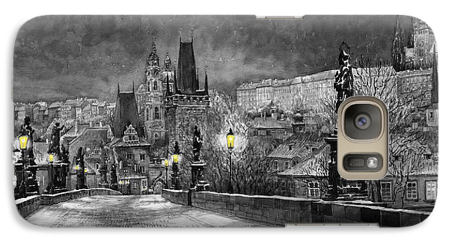 Prague Galaxy S7 Case featuring the painting Bw Prague Charles Bridge 06 by Yuriy Shevchuk